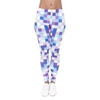impresión de píxeles al por mayor-Chica Leggings Pixel Digital 3D Imprimir Mujeres Skinny Pantalones elásticos Jeggings Yoga Apretado Capris Colorido Modelo Entrenamiento Pantalones blandos (J40575)