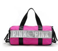 Wholesale Camping Handbags - Pink Beach Bag VS Women Men Handbags Letter Travel Bags Pink Letter Duffle Shoulder Bags Fashion Fitness Yoga Bags Totes