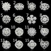 minimum moda toptan satış-Toptan-Minimum sipariş yok !!!!!! Moda broşlar iğneler gümüş vintage kristal broş buket düğün bayan broş için