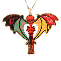 Wholesale Skull Sweater For Men - Popular skeleton figure necklaces Hallowmas jewelry Colourful acrylic aolly skull Sweater chains long pendants chain jewelry for man woman