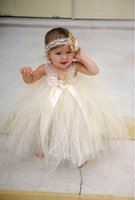 Wholesale Yellow Ball Gown For Toddlers - champgne beaded lace newborn baby flower girls dresses 2017 spaghetti ball gown infant little girls pageant dresses formal for wedding