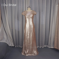 Wholesale Long Sleeve Ankle Dress Sequins - Sequin Cowl Back Bridesmaid Dresses Sheath Champagne Rose Gold Wedding Maid of Honor Factory Custom Made