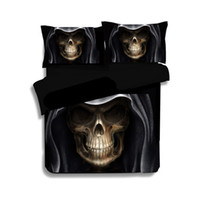 Wholesale Winter Set Design - High Quality 3D Black Skull Bed Set Fashion Patterns Design Bed Comforters Black 3 Pces Comforter Sets Drop Shipping