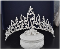 Wholesale High End Crowns Tiaras - 2017 New Design Glitter Crystals Bridal Accessories High End Wedding Tiara and Crowns Bride Headpieces Free Shipping