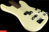 Wholesale Maple Bass - Custom 4 Strings Duff Mckagan Precision Bass Pearl White Electric Bass Gutiar Black Headstock & Black Hardware,Skull Neck Plate Top Selling