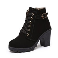 Wholesale Ladies Army Boots - Gamiss Zipper Ladies Thick High Heel Ankle Boots Stylish Lace Up square toe thick heel Solid women boots high heel snow bootsUE021
