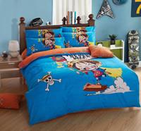Wholesale Housse Couette 3d - Wholesale- 100% Cotton ONE PIECE anime bedding sets 3D duvet cover 3pcs twin size for single bed sheets queen housse de couette Luffy
