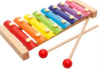 ahşap vurmalı oyuncak toptan satış-Çocuklar Woode Sekiz Sesler bir Arp 8 Notlar Müzikal Oyuncaklar El Vurmak Ksilofon, iyi Müzik Aletleri
