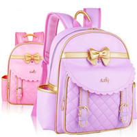 Wholesale Kids School Bags Leather - Kids Girls Princess PU Leather Backpack Pink Cute Bowknot Children Primary School Backpacks Bag