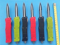 Wholesale Double Edge Knives - KIMTER 616 combat troodon small size A161 knife double edge plain   Serrated 440C steel Two-tone Double action custom knives A07 D07 C07