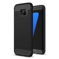 Wholesale Carbon Fibre Brush - For S8 S7 edge Carbon Fibre Brushed TPU Case Flexible Rubber Armor Cover For Samsung Galaxy S8 plus S6 S7 Edge C9 Pro J5 J7