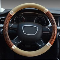 Wholesale New Leather Steering Wheel Cover - New Car Styling Stereo Crocodile Grain Rivets Design Steering-Wheel Cover Massage Four Season Universal Steering Wheel Covers