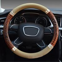 Wholesale Wheels Rivets - New Car Styling Stereo Crocodile Grain Rivets Design Steering-Wheel Cover Massage Four Season Universal Steering Wheel Covers