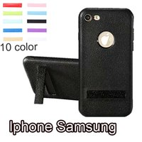 Wholesale I Phone Holders - For iphone X iphone 8 Plus i phone 7 Plus Litchi leather Soft Back Phone Case iphone x With Holder For Samsung S8