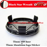 emblèmes amg achat en gros de-Centre de roue emblème de voiture 75MM casquettes ABS pour W211 W203 W204 W124 W201 AMG W202 W212 W220 W205 GLA CLA auto emblème roue hud couvre base noir