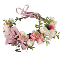 Wholesale fabric wreath - Bohemian Handmade Fabric Lily Flower Crown Bridal Hair Accessories Prom Flower Garland for Bridesmaid Flower Wreath Headband