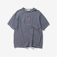 Wholesale Oversized Shirts Men - Rose Embroidery Striped Mens T-shirt Short Sleeve Summer Hi-street Oversized Hip Hop Tshirt Cotton Tee Shirts 2 Colors