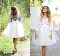 bow midi skirt NZ - Cute White Tulle Skirts With Bow Satin Waist Knee Length Puffy Tutu Midi Skirts Lovely Girls Short Maxi Skirts