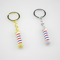 Wholesale Men Pole - Funny Jewelry Keychains Barber Shop Barber Pole Key Holder Hairdresser Gothic Keyrings Souvenir keychain