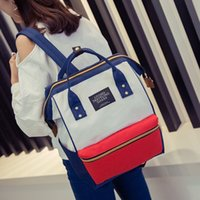Wholesale New Medium Canvas Cute Bookbags Preppy Style Rucksack Appliques Women Simple Shopping Pack Ladies Travel Bags Student School Backpack