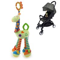 Wholesale Cute Giraffe Stuff - Cute Giraffe Rattles Baby Stroller Bed Crib Cot Hanging Bell Toy Kids fabric plush Stuffed Toys with Teether