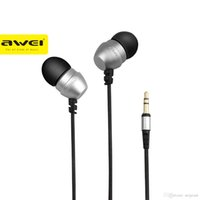 Wholesale Phone Q8 - Original AWEI ES Q8 Super Deep Stereo Earphones Nylon Wired Heads In-ear Metal Earphone for Phone MP3 Players 3.5mm Jack Headset 1pcs