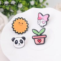 Wholesale Children S Jewelry For Girls - Wholesale- 4ps Set Children Jewelry Flower Panda Cute Brooch For Girl 'S Gift Colar Pins Fashion Resin Jewlery