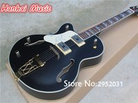 Wholesale Left Handed Hollow Body - wholesale Free Shipping-Semi-hollow Electric Guitar,Left-hand Version,Black Body,Gold Hardware,White Pickguard,can be Customized