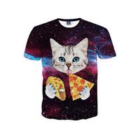Wholesale Teen Boys T Shirt - Unisex Teens Boys Girls Women 3D Cat Pizza Print T-Shirts
