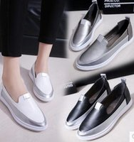 Wholesale Medium Documentary - Free post 3 colors pointy silver cap toe slip on sneakers Low metal color matching documentary shoes leisure shoes