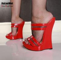 Wholesale Leather Platform Slide - Free Shipping Women Sexy High Heels Wedges Sandals Platform Patent Leather Ankle Strap Sandals Fashion Summer Pumps Ladies Slides Shoes 18cm