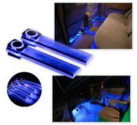 araba mavi dekorasyon toptan satış-Oto İç LED Atmosfer Işıklar - 4in1 12 V Premium Kalite Araba İç Mavi / RGB LED Atmosfer Işıklar Zemin Dekorasyon Lamba