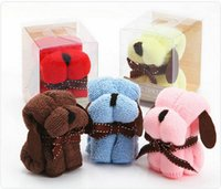Wholesale Cheap Wholesale Face Towels - Dog Cake Shape Towel with retail Box Package Microfiber Cotton Washcloth Wedding Gifts Cheap Promotion Gifts