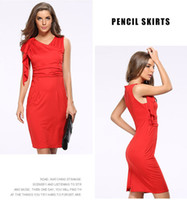 Wholesale Short Skirt Dress For Work - Summer plus size dress for women clothes office lady skirts formal short dresses sexy V neck pleat short sleeve above knee-length OL-8682