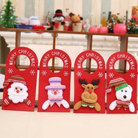 Wholesale Hotels Bear - 2017 New Christmas door decorations cartoon door hanging snowman elk santa bear hotel door hanging decor
