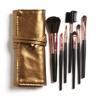 Wholesale Sleek Make Up - 7 pcs Makeup Brush Set in Sleek Golden Leather Like Case Portable Cosmetic Tools Make up Brushes set with bag high quality