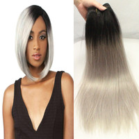Wholesale Hair Extensions Top Rated - Fashion dark grey ombre weave straight 3pcs lot free shipping 7a top-rated garde peruvian hair grey ombre hair extensions