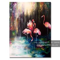Silicone painting reproduction artist - Professional Artist Reproduction High Quality Pink Flamingo Oil Painting on Canvas Handmade Funny Animal Flamingos Oil Painting