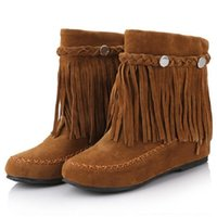 Wholesale Shoe Gypsy - Wholesale- 35-43 bohemian gypsy boho ethnic national women tassel fringe suede leather ankle boots woman girl comfort flat shoes booties