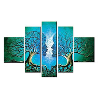 Wholesale Contemporary Floral Wall Paintings - Blue Tree Human Body Modern 100% Hand Painted Stretched and Framed Artwork Contemporary Abstract Oil Paintings on Canvas Wall Art Ready to H
