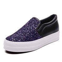 Wholesale Denim Women Casual Fashion Wear - Free shipping 2017 women casual shoes Sequins Fashion Rubber sole Factory wholesale export Cloth material Flat heel Increase Wear-resistant
