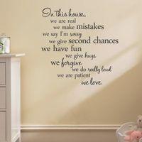 wall stickers quotes house rules 도매-현대 집 규칙 비닐 견적 벽 스티커 홈 인테리어 거실 diy 검은 벽 아트 데칼 이동식 스티커 장식