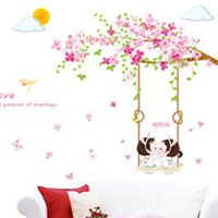 Wholesale Girls Removable Wall Stickers - Romantic Sakura Wall Stickers Bedroom Girls Adhesive Living Room Art Decal Removeable Wallpaper Mural Sticker for Kids Room Decorative