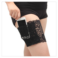 Wholesale Black Garters Free Shipping - Wholesale Garters Leggings Fashion Women Lace Garter Convenience Garter Wallet With Girly Phone Lace Underwear Pockets Purse Free Shipping