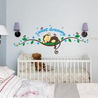 affe kinder dekor groihandel-Neue Lustige Affen Wandaufkleber für Kinderzimmer Wohnzimmer Wohnkultur Wand-dekor Wandbild Kunst