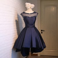 Wholesale Elegant Lace Knee Length - Scoop Neck Lace Satin High Low Cocktail Dress Lace Up 2018 Elegant Prom Dress Navy Blue Pink Red Party Dress