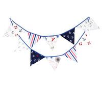 Wholesale ornaments decorate - Children Birthday Decorate Triangular Flag Cotton Multi Function Kindergarten Festival Party Ornament Tool 12 Flags Hot Sale 14yf J