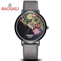 BAOSAILI Top Brand Flower Face Design Placcatura in oro Case Series Guarda Simple Cartoon WatchesFashion Orologio al quarzo da donna BS1011