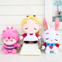Wholesale Cheshire Cat Toy - 3Styles Anime Kawaii Alice in Wonderland 2 Soft Stuffed Plush Toys 20cm Height Alice Cheshire Cat White Rabbit Dolls Gifts For Kids