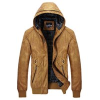 Wholesale Wine Leather Jacket - AFS JEEP Autumn winter Man's PU Leather High Quality Motorcycle Leather Jacket,Hooded Real Man's Slim Vintage Hat Leather Outwear male